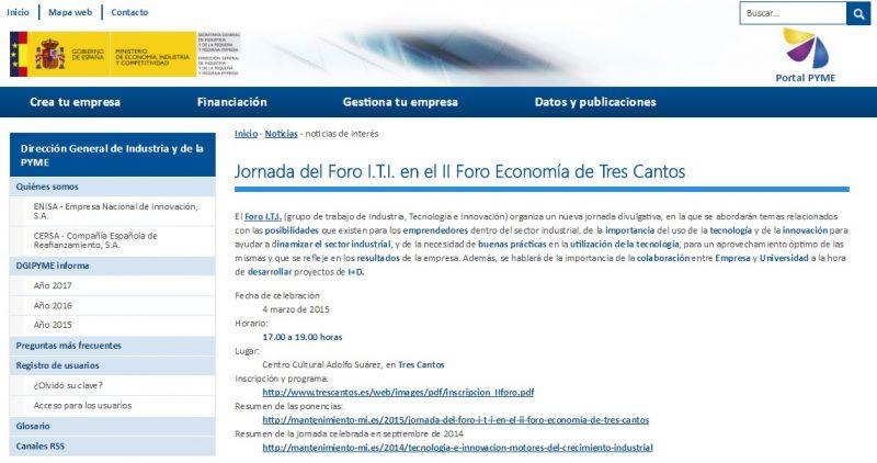 Imagen de la noticia en el portal ipyme sobre la jornada del Foro ITI