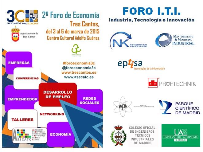 Cartel del Foro ITI en el II Foro Economía Tres Cantos